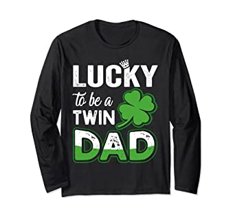 15a4c9ab Amazon.com: Lucky To Be A Twin Dad Shirt Pregnancy St. Patrick's Day ...