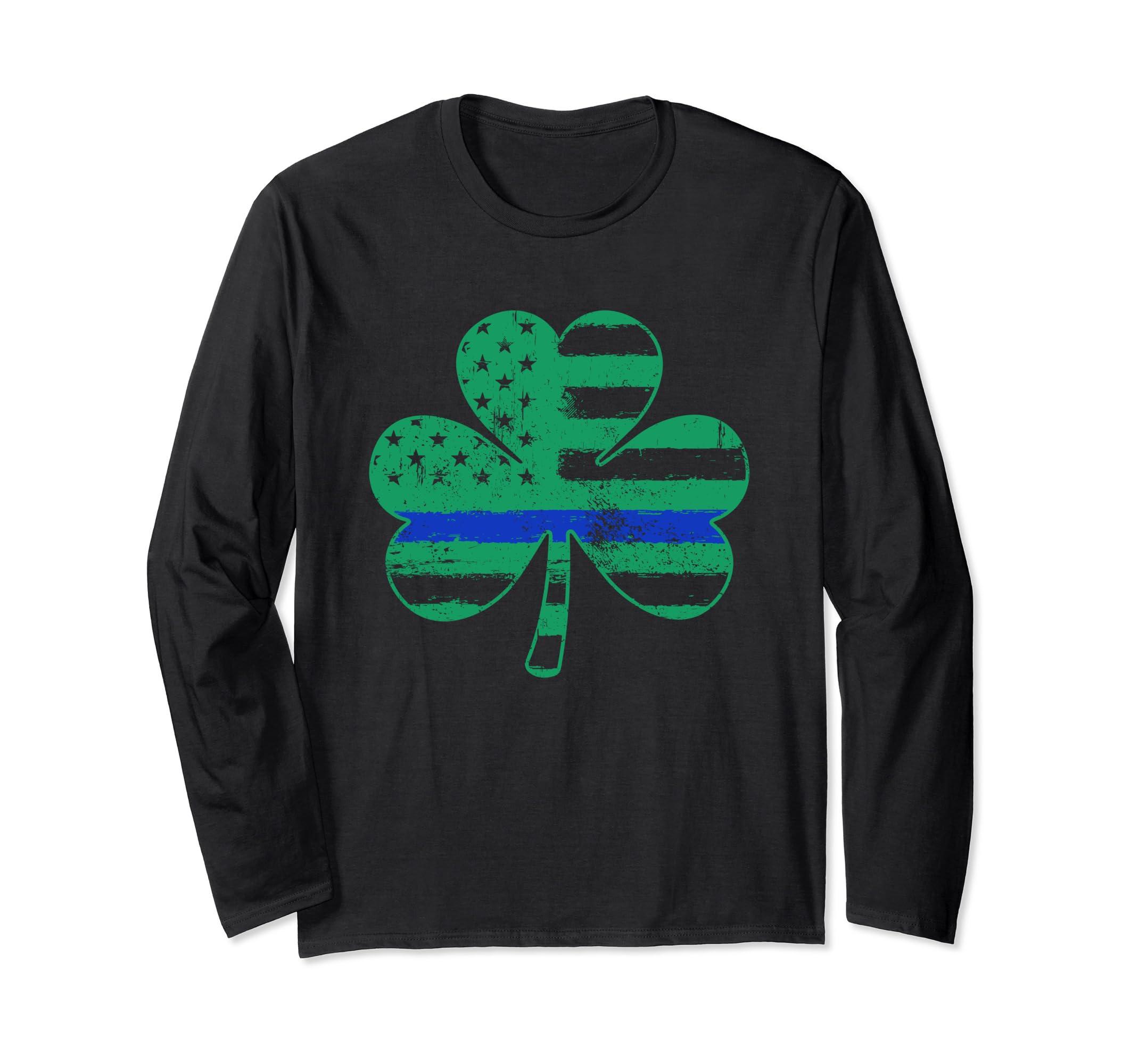 Thin Blue Line Long Sleeve St Patricks Day Shirt – Shamrock-Teehay