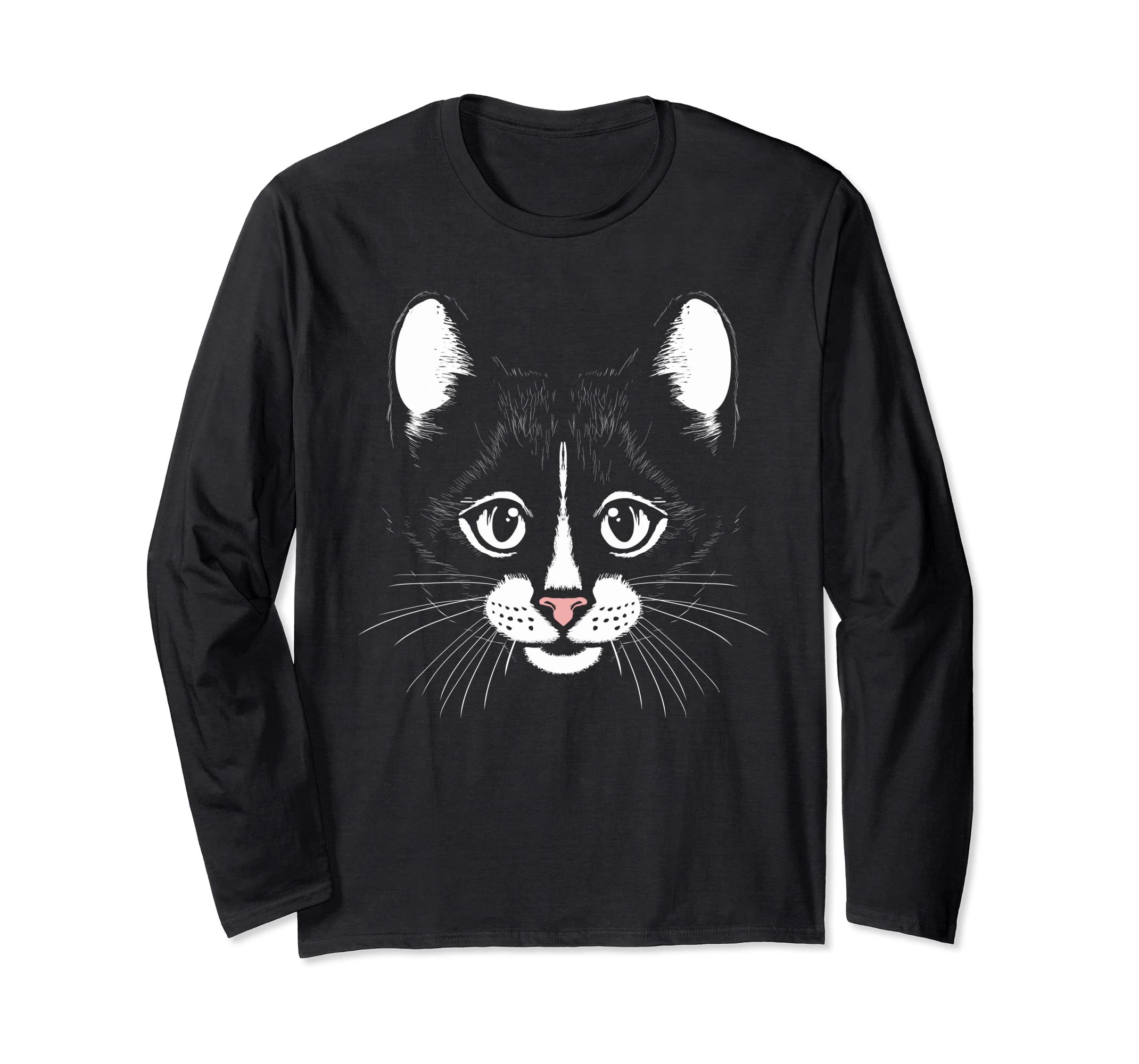 5f3fc8d5 Amazon.com: Cool Cat Face Funny Graphic Pet Lover Long Sleeve T-Shirt:  Clothing