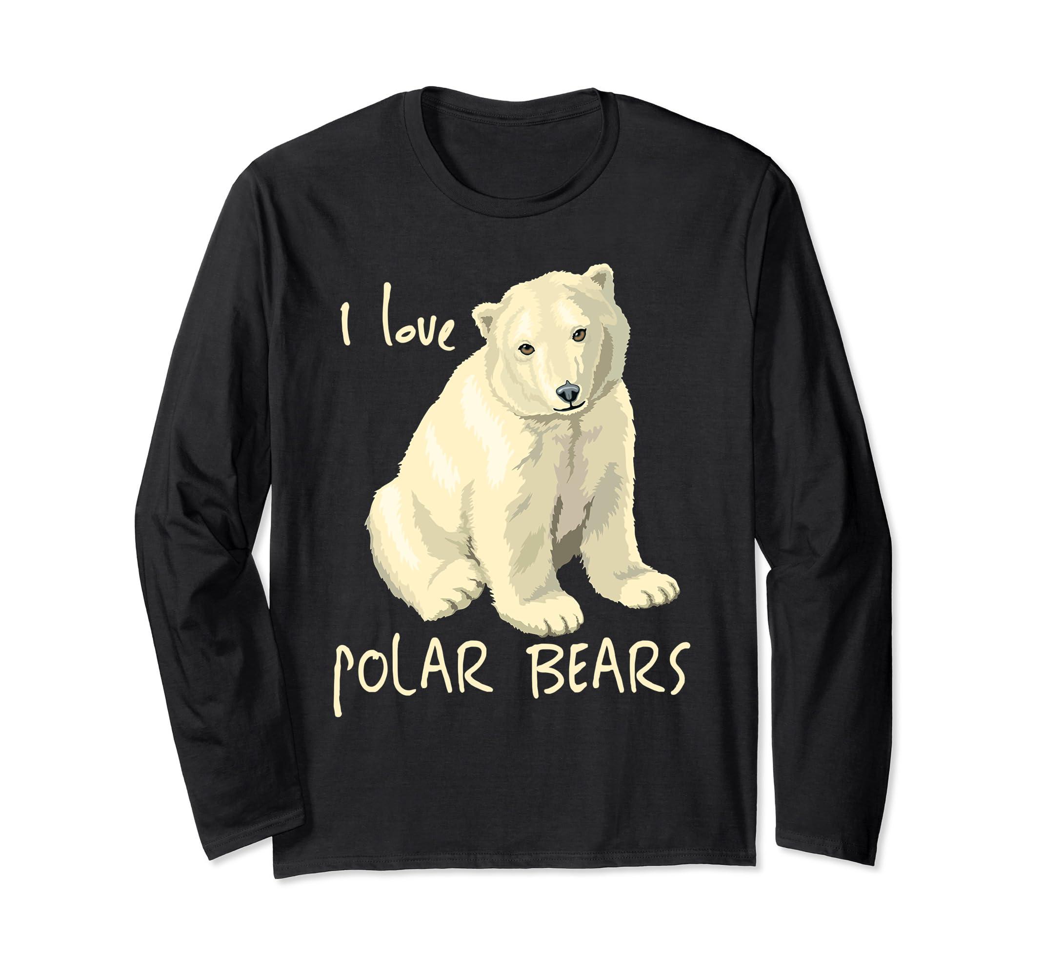 Cute Polar Bear Shirt I Love Polar Bears Long Sleeve Tee Top-Bawle