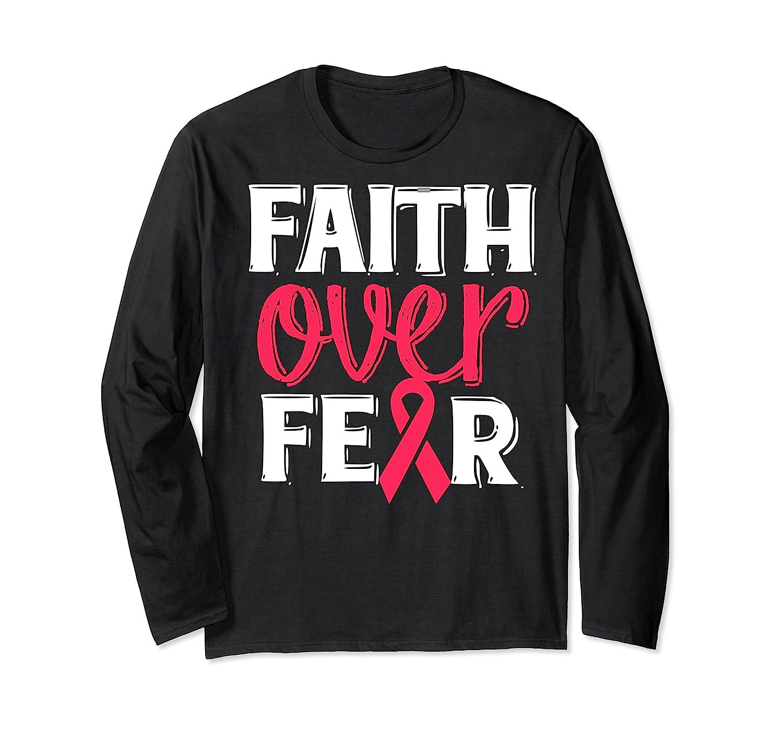 Faith Over R Breast Cancer Awareness Gift Shirts Long Sleeve T-shirt