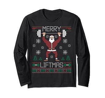 d7f3b30c20f80b Amazon.com  Merry Liftmas Ugly Christmas Sweater Gym Workout Long ...