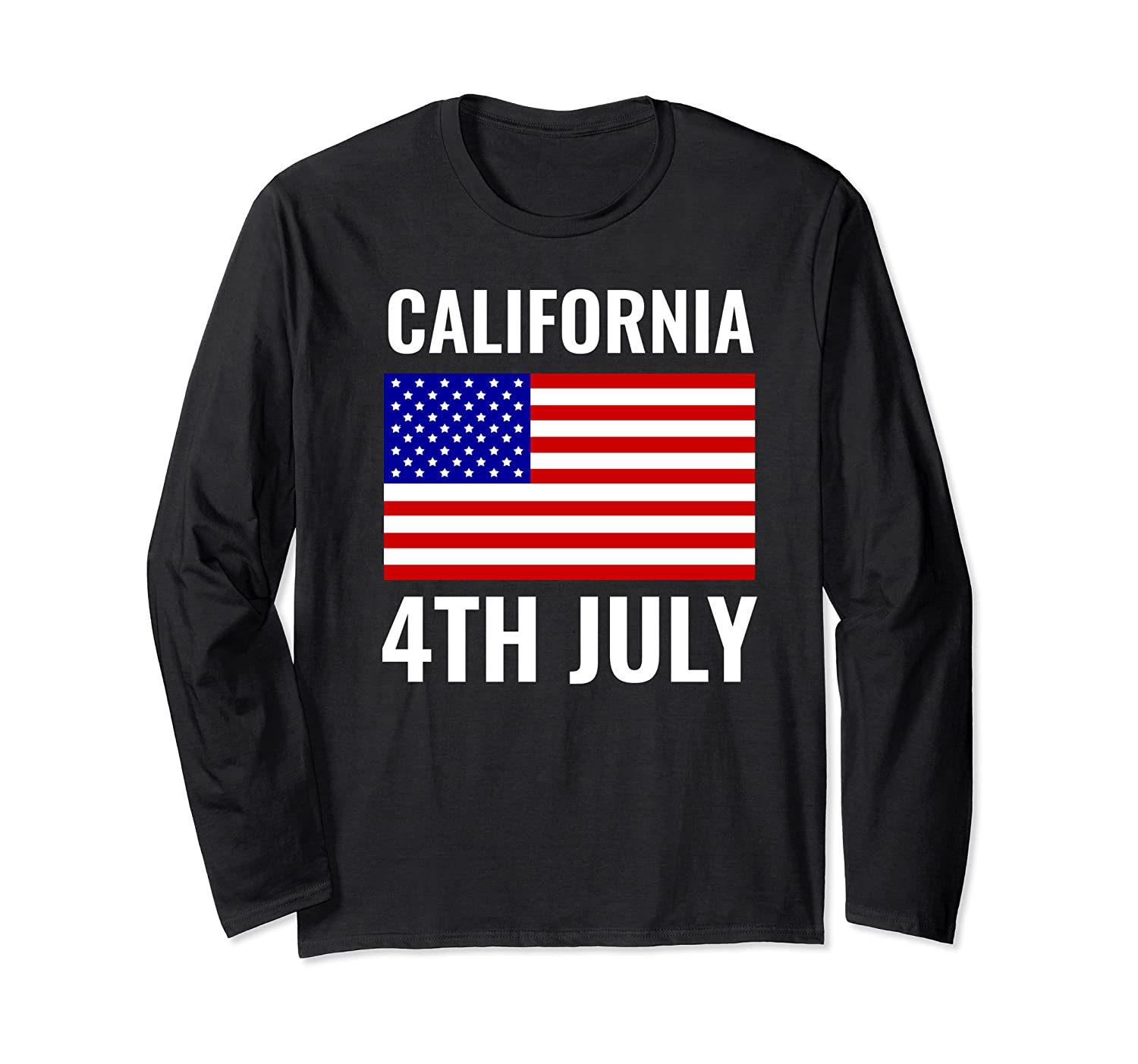 California Independence Day 4th July American Us Flag Gift Shirts Long Sleeve T-shirt