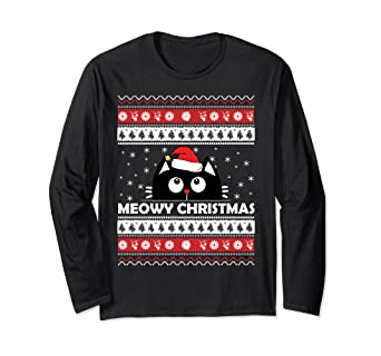 Ugly Christmas Sweater Cat.Amazon Com Meowy Cat Ugly Christmas Sweater Clothing