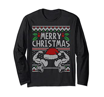 860054a9 Amazon.com: Weight Lifting Ugly Christmas Sweater Style Muscle Shirt:  Clothing
