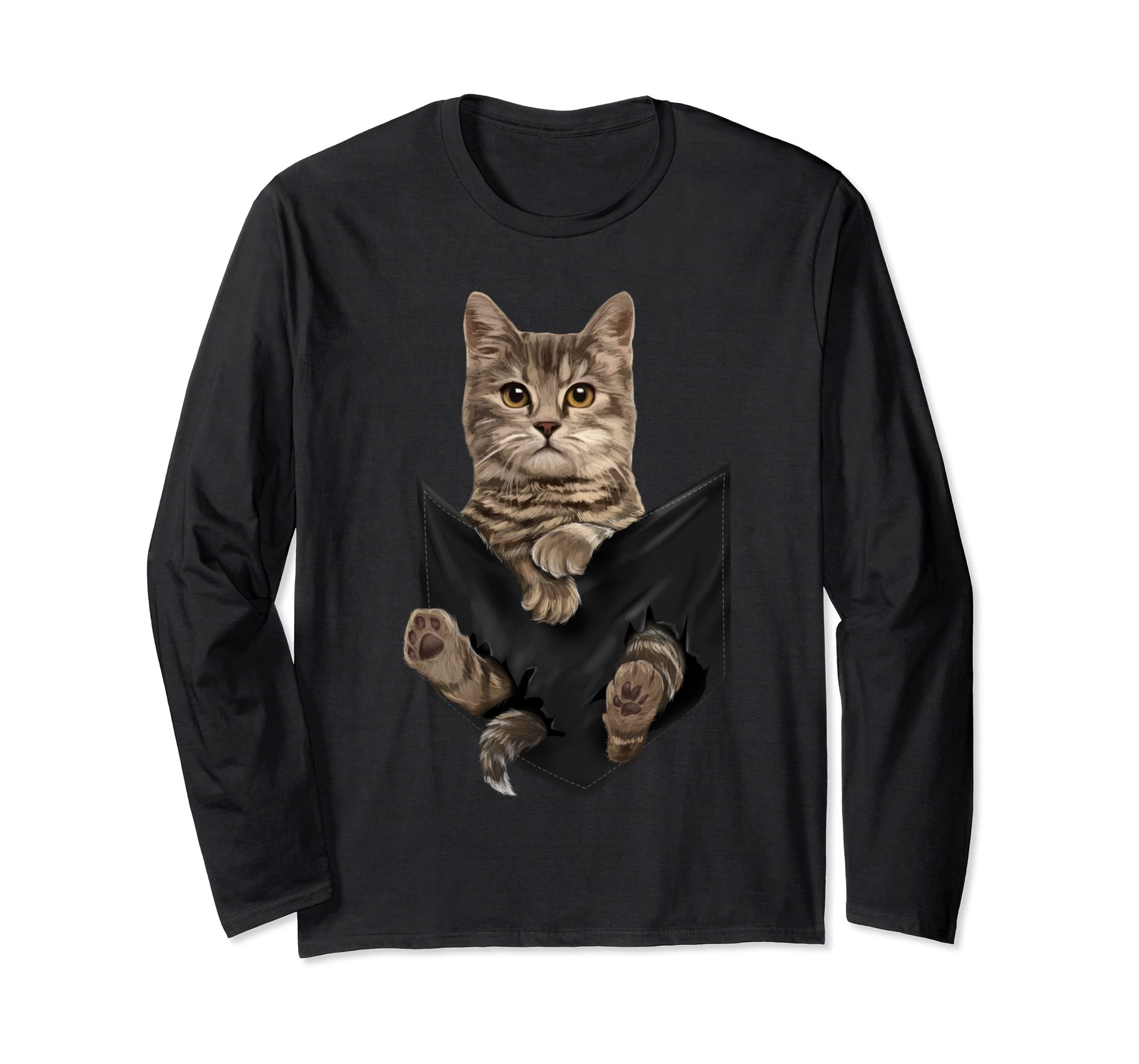 Brown Cat Sits in Pocket Long Sleeves Cats Tee Shirt Gifts-Teehay