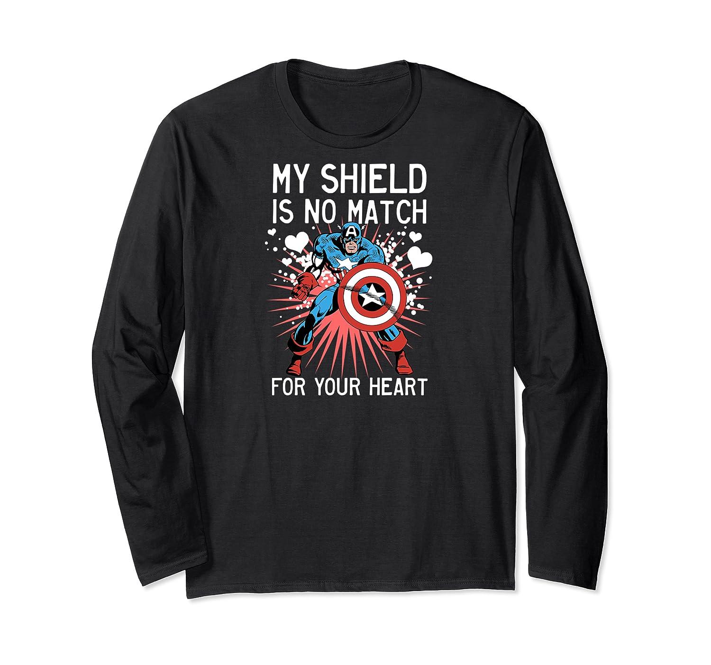 Marvel Captain America Shield Heart Valentine Shirts Long Sleeve T-shirt