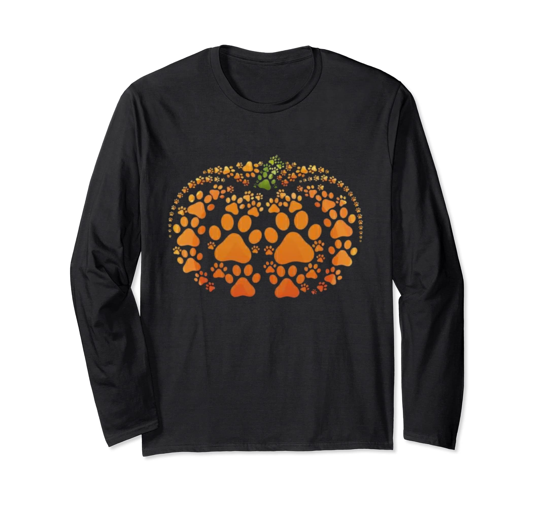 Paw Print Pumpkin Halloween Long Sleeve T shirt-Teesml