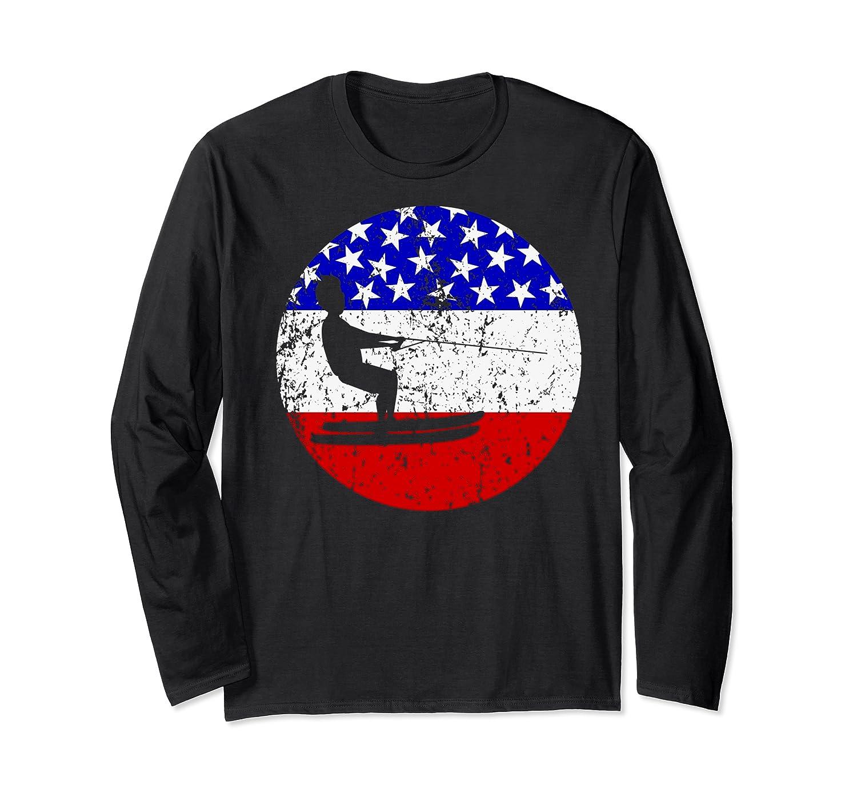 American Flag Waterskiing Vintage Retro Waterskiier Shirts Long Sleeve T-shirt
