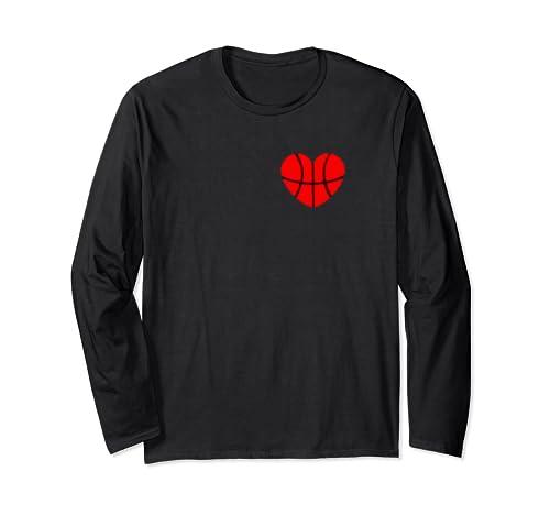 Basketball Love Valentines Day Basketball Heart  Long Sleeve T Shirt