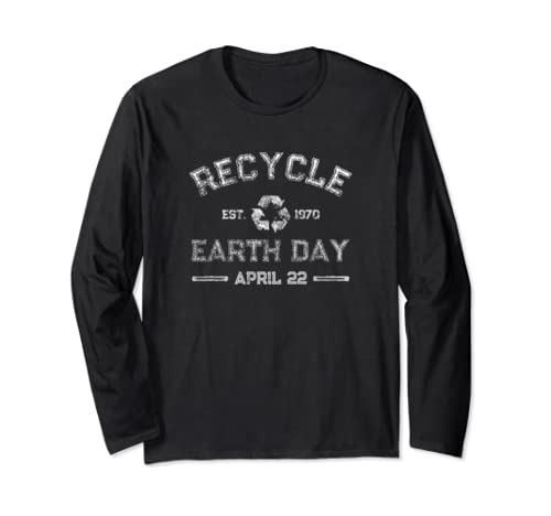 Earth Day Vintage Recycle Design Long Sleeve T Shirt