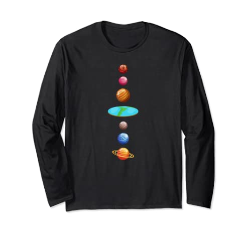 Flat Earth Society Planet Map Gravity Conspiracy Theory  Long Sleeve T Shirt