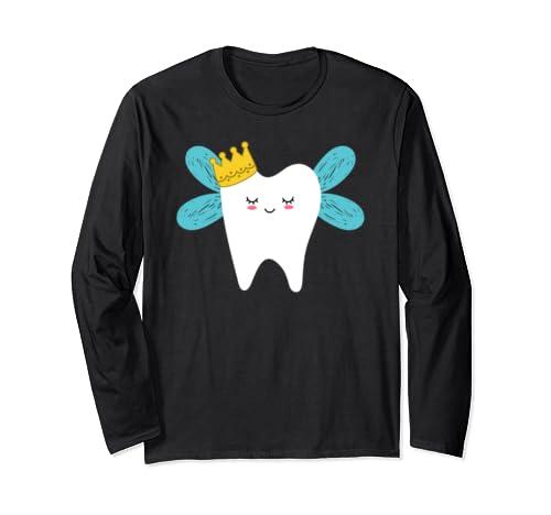 Cute Tooth Fairy Cartoon Drawing Halloween Costume Long Sleeve T Shirt