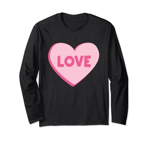 Kids Pink Heart Love Valentines for Girls Women Long Sleeve T-Shirt