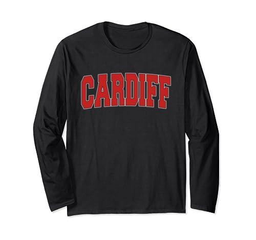 Cardiff United Kingdom Varsity Style Vintage Retro Uk Sports Long Sleeve T Shirt