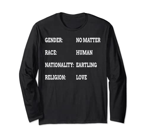 Race Human Being Religion Love Gift Mens Ladies Long Sleeve T Shirt