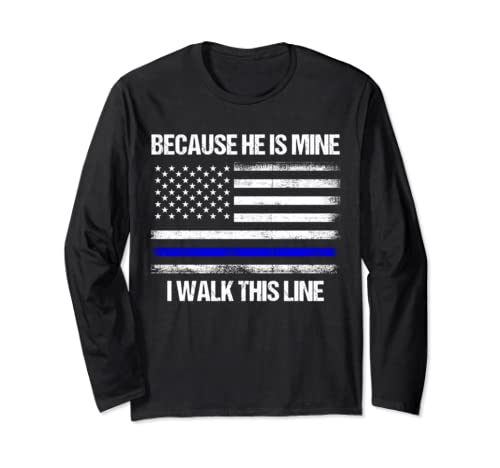 Police Officer Wife   Thin Blue Line American Flag Gifts Long Sleeve T Shirt
