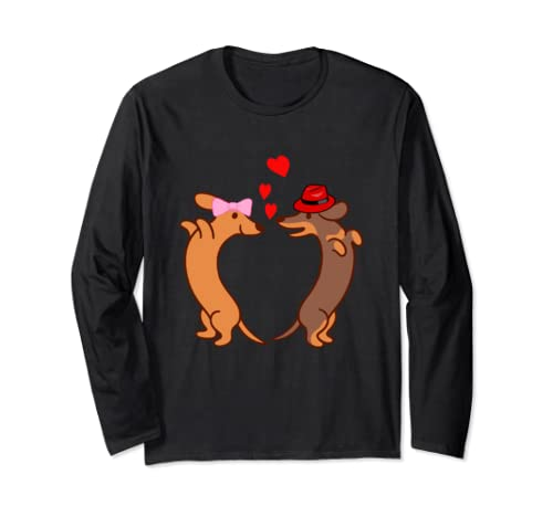 Dog Heart Valentines Day for Couple Long Sleeve T-Shirt