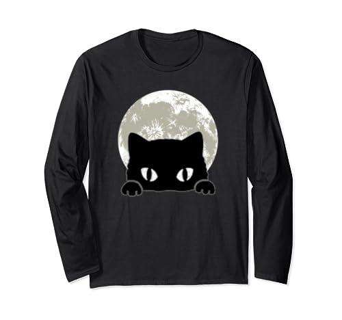 Cute Black Cat And Full Moon Halloween Cool Cat Eyes Long Sleeve T Shirt