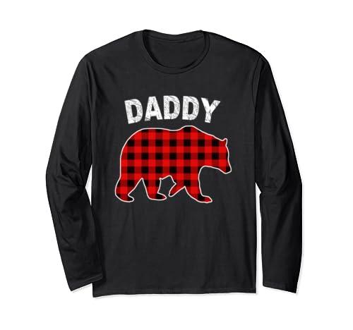 Red Plaid Daddy Bear Buffalo Matching Family Pajama Long Sleeve T Shirt