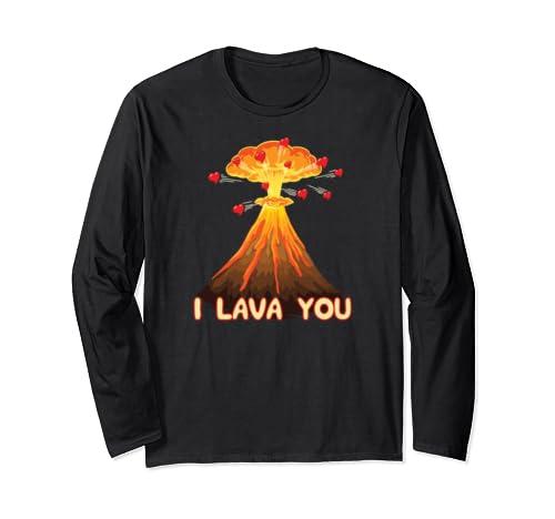 I Lava You Cute Valentines Pun Volcano Boyfriend Girlfriend Long Sleeve T-Shirt