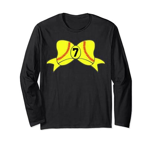 Softball Stitch Hair Bow Custom Team Player Jersey Id #7 Long Sleeve T Shirt