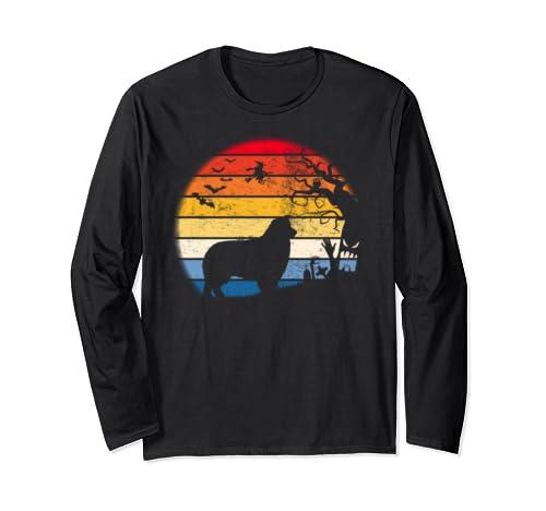 Australian Shepherd In Moon Retro. Gift For Halloween Long Sleeve T Shirt