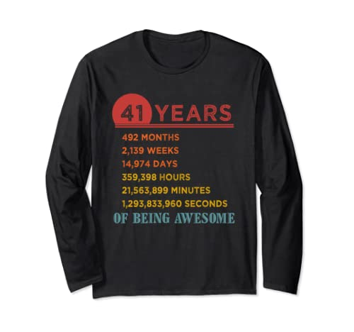 41st Birthday Gift 41 Years Old Being Awesome Vintage Long Sleeve T Shirt