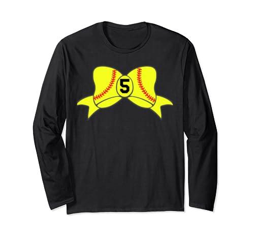 Hair Bow Softball Stitch Custom Team Player Jersey Id #5 Long Sleeve T Shirt