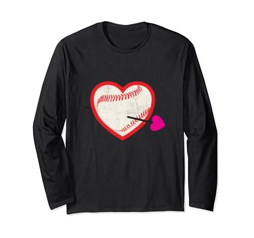 Baseball Softball Heart Valentine's Day Gift Graphic Long Sleeve T Shirt