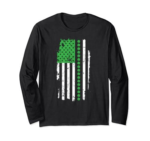 St. Patrick's Day 2020 Distressed Irish American Flag Long Sleeve T Shirt
