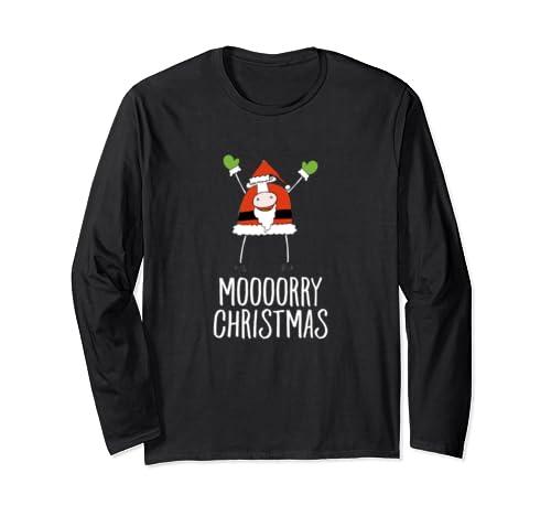 Moooorry Christmas Funny Santa Cow Xmas Holiday Celebration Long Sleeve T Shirt