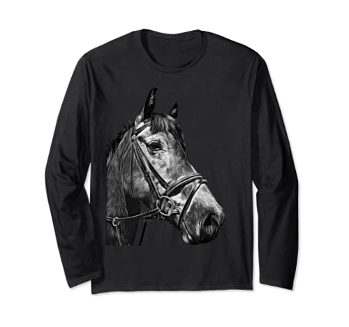 Horse Stud Farm Animal Black And White Art Portrait Design Long Sleeve T Shirt