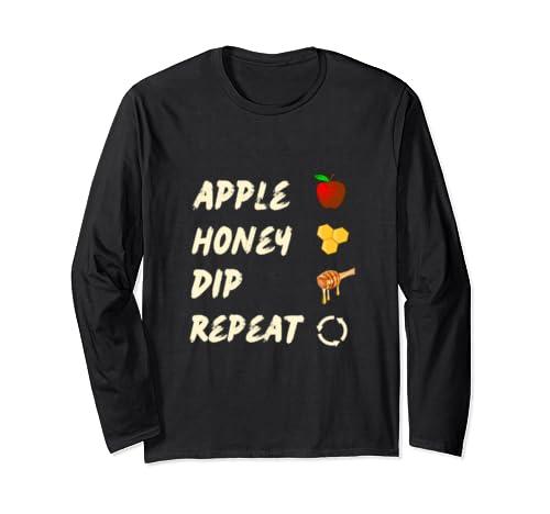 Rosh Hashana Apple Honey Dip Repeat Jewish New Year Gift Long Sleeve T Shirt