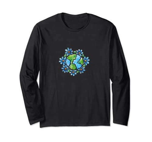 Watercolor Earth Daisy Art Earth Day Designs  Long Sleeve T Shirt
