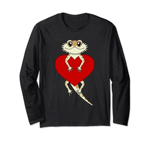 Cute Red Heart Cartoon Bearded Dragon Valentines Day Long Sleeve T Shirt