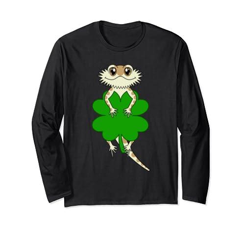 Cute Four Leaf Clover Cartoon Bearded Dragon St Patricks Day Long Sleeve T Shirt