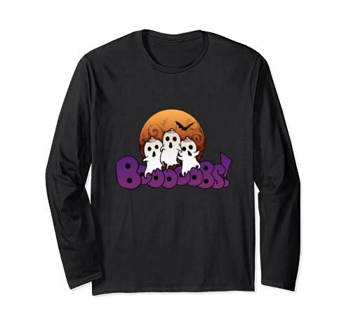 Bo Oooobs! Boob Ghost Funny Halloween Pun Illustrated Art  Long Sleeve T Shirt