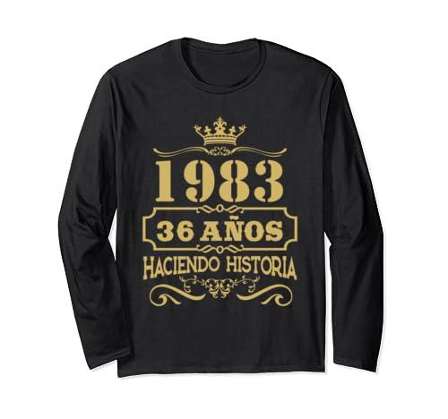 Playera 1983 36 Anos Haciendo Historia 36th Birthday Gift Long Sleeve T Shirt