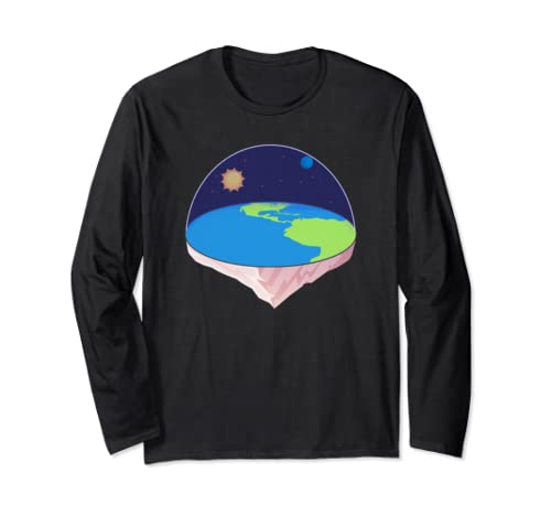 Flat Earth Society Planet Map Gravity Conspiracy Theory Long Sleeve T Shirt