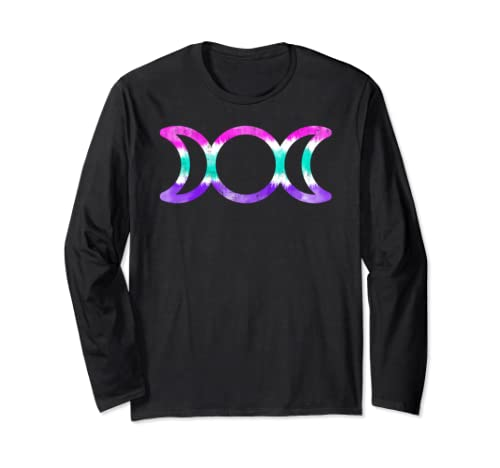Wiccan Triple Moon Goddess Symbol Lightly Distressed Tie Dye Long Sleeve T Shirt