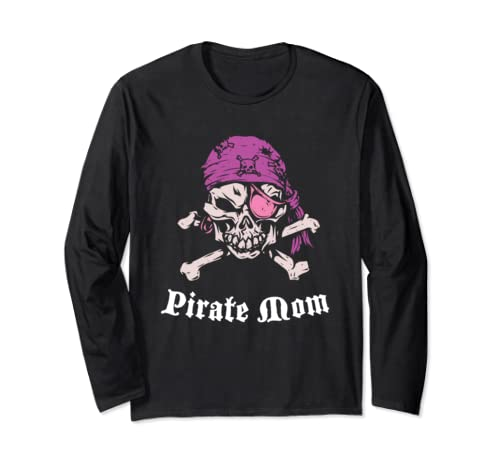 Captain Pirate Mom Mother's Day Cute Jolly Roger Long Sleeve T Shirt