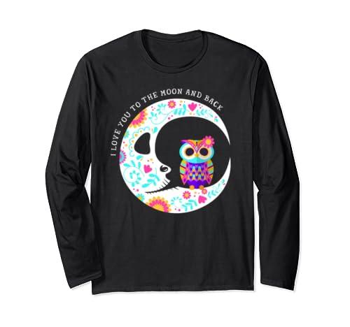 Owl Sugar Skull Love You To The Moon & Back Halloween Gift Long Sleeve T Shirt