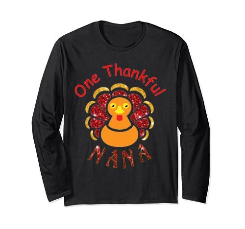 Funny One Thankful Nana Turkey Leopart Thankgivings Long Sleeve T Shirt