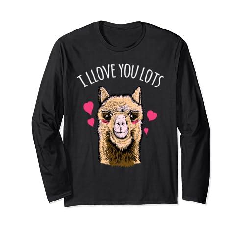 Funny Alpaca Llama Valentines Day I Llove You Llots  Long Sleeve T-Shirt
