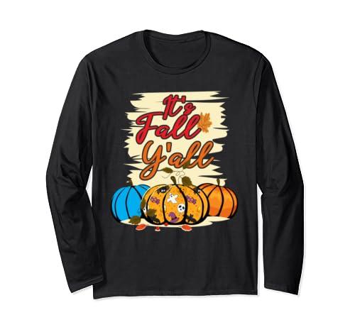 Happy Fall Y'all Leopard Print Pumpkin Rustic Thankgiving Long Sleeve T Shirt