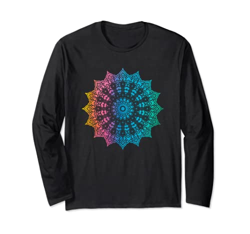 Mandala Artistic Arabesque Rainbow Tie Dye Graphic Long Sleeve T Shirt