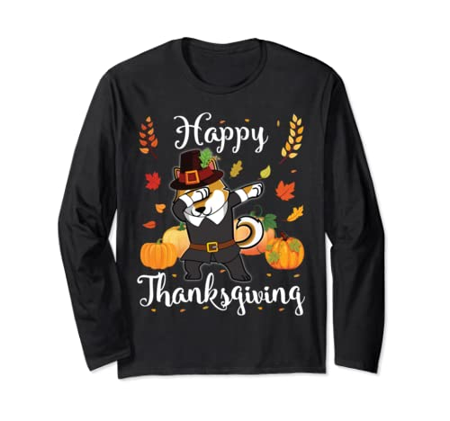 Shiba Inu Pilgrim Dabbing & Pumpkins Happy Thanksgiving Day Long Sleeve T Shirt