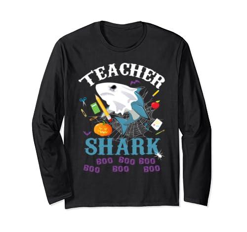 Teacher Shark Boo Boo Boo Teacher Pumpkin Ghost Halloween  Long Sleeve T Shirt