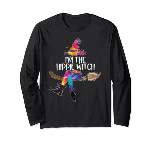 Im The Hippie Witch Shirt Halloween Matching Tie Dye Group Long Sleeve T Shirt
